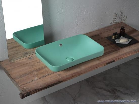 Drop-in Retangle Matt Green Washbasins