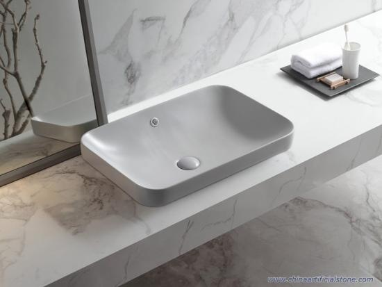Semi Recessed Retangle Matt Grey Washbasins
