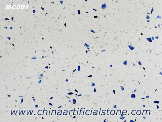 White Terrazzo Slabs and Tiles with Blue Aggregate