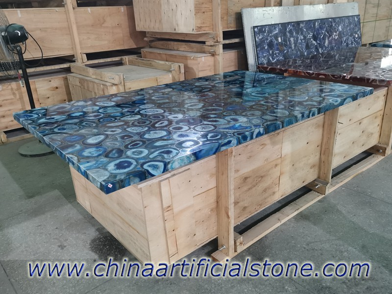Blue Agate Rectangle Table Tops