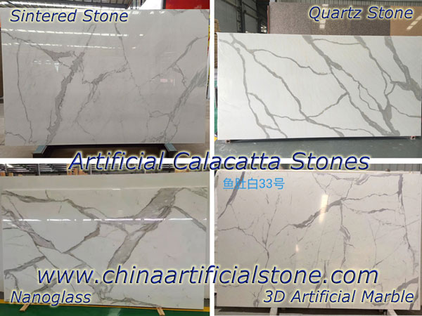 Artificial Calacatta by Sintered Stone Nanoglass Quartz 3D Marble