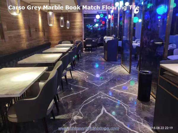 Carso Grey Marble with White Veins Bookmatch Floor and Wall decoration